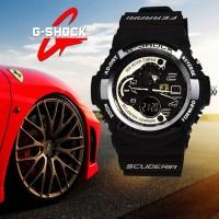 Jam CASIO G-SHOCK FERRARI Hitam List Putih   Jam Trendy Terbaru