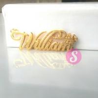 Kalung Nama Lapis Emas Grafir - William
