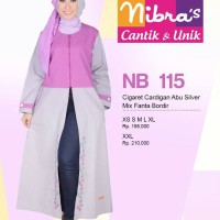 Gamis Nibras Cantik Busana Muslim NB 115 Cardigan Abu