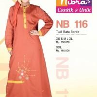 Gamis Nibras Cantik Busana Muslim NB 116 Twill Bata