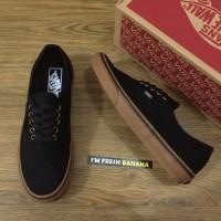 Sepatu Vans Authentic Black Rubber Gum Brown Hitam DT Premium