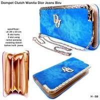 Dompet Clutch Wanita Dior Jeans-biru