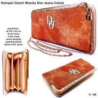 Dompet Clutch Wanita Dior Jeans-coklat