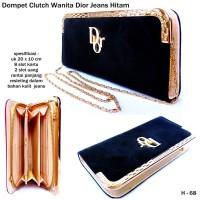 Dompet Clutch Wanita Dior Jeans-hitam