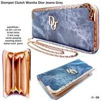 Dompet Clutch Wanita Dior Jeans-grey
