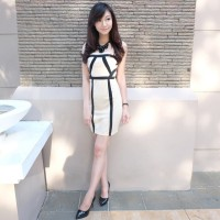 CY50825 - Simple White Liz Black Import Korean Fashion Cotton Dress