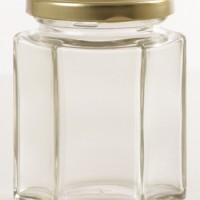Botol - Toples Selai Kaca 195ml Heksagonal, Tutup SENG / Glass Bottle 195ml Hexagon - METAL Cover