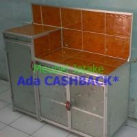 harga Meja Dapur Meja Kompor 3 Pintu + Rak Piring Model L Keramik Aluminium Tokopedia.com
