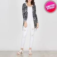 Outwear Wanita Fashionable - Emily Grey Tribal Cardigan