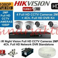 PROMO PAKET CCTV HIKVISION DVR 8CH + 4 CCTV FULL HD 2MP (KOMPLIT SET)