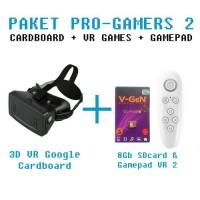 Paket Pro 2 : Google CardBoard 3D VR + Games 8Gb + Gamepad VR2