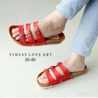 Sandal Sendal Replika Carvil Birkenstock Viness Love Art Ban 3 Merah