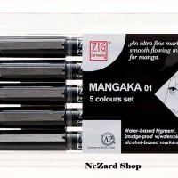Jual Kuretake Zig Cartoonist Mangaka Pen 01 5 Colours Set CNM-01-5V Murah