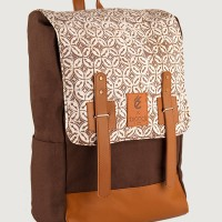 Jual Bio 3rd Brown Pecah Kopi | Tas Ransel Laptop Batik Denim Bag Sekolah Murah