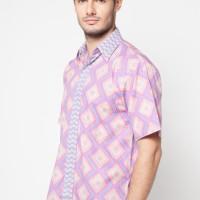 Pomona Batik Kemeja Lengan Pendek - Motif Segitiga Pink (pom 105)