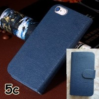 FOR IPHONE 5C 5 C - FLIP WALLET CASE COVER SOFT LEATHER NAVY BLUE