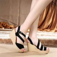 Wedges Hitam W18 Koleksi Sepatu Wedges High Heels Wanita Manis