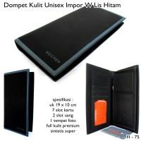 Dompet Pria Dan Wanita / Unisex Import W List-hitam