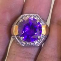 harga Cincin Titanium Batu Kecubung Amethyst Oval HQ Tokopedia.com