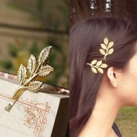 jepit rambut motif daun / leaves hair clips JJE005