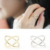 cincin silang / hollow female X crossover ring JCI010