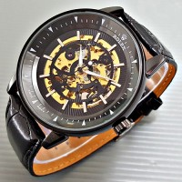 Jam Tangan Pria Rolex Skeleton Big Size Gear Leather Full Black