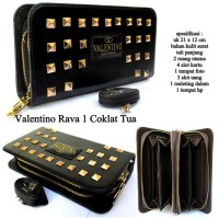 Dompet wanita kulit 2 zipper vaalentino rava 1-coklat tua