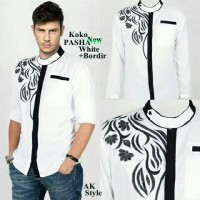 Baju Koko Lengan Panjang Rayon Bordir White Putih Murah