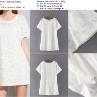 Dress putih brokat, soft katun silk import murah, elegan, lookbook