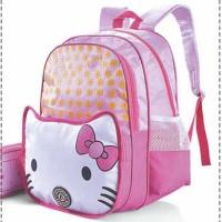 Jual Tas Ransel Perempuan / Tas Sekolah Anak + Dompet Pensil - Hello Kitty Murah