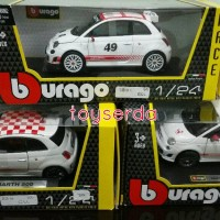 diecast mobil burago fiat abarth 500 1 / 24 metal race hw th tomica