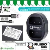 USB Dual Charger for FinePix HS30EXR, HS33EXR, HS35EXR, HS50EXR
