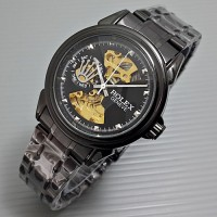 Rolex Skeleton Geneve Rantai Full Black HIGH QUALITY