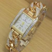 Jam Tangan Wanita / Cewek Louis Vuitton Kepang Gold Dial HIGH QUALITY