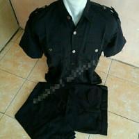 seragam safari (tangan pendek) hitam & blue black