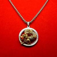 Jual Kalung Titanium + Liontin Platinum Naga Murah