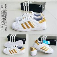 Harga sepatu adidas superstar white lis gold grade premium keren murah | Pembandingharga.com