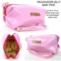 Dompet tas kosmetik organizer multifungsi jelly fuurla-baby pink