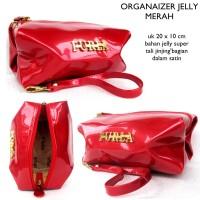 Dompet tas kosmetik organizer multifungsi jelly fuurla-merah