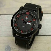 Jam tangan swiss army tali hital list red