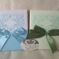 Undangan pernikahan/Kartu Undangan Hardcover Baby Biru & Hijau