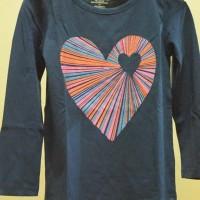 Circo - Baju Kaos Lengan Panjang Anak Perempuan Branded Biru Tua Love