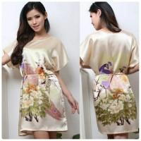 Baju Tidur Baju Santai Wanita Polyester Printing Phoenix - Gold