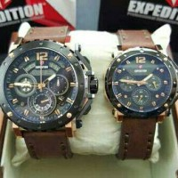 Jam Tangan Couple Expedition E 6402 Black Gold Brown Original