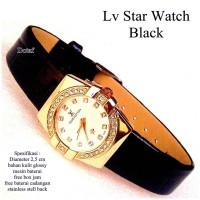 jam tangan wanita lv star watch kulit glosy full set-hitam
