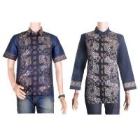 baju pasangan atau baju couple batik blus lengan panjang SBR02 biru