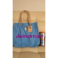 Harga starbucks taiwan oceanic blue canvas tote handbag tote bag | Pembandingharga.com