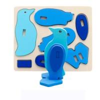 Jual Puzzle Patung Kayu 3D Mainan Edukatif Edukasi Anak - Pinguin - PC015 Murah