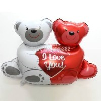Balon foil bear couple i love you ukuran mini