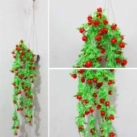Jual bunga plastik / bunga hias / bunga artificial + pot gantung merah red Murah